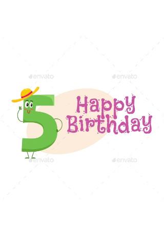 Happy Birthday Vector Greeting Card