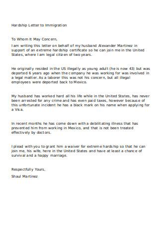 Hardship Letter to Immigration