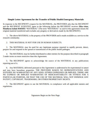 Health Emergency Materials Letter Agreement