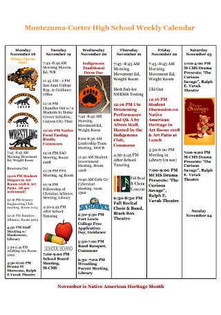 High School Weekly Calendar