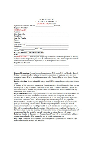 Home Daycare Contract and HandBook