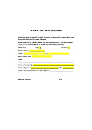 Hourly Time Off Request Form
