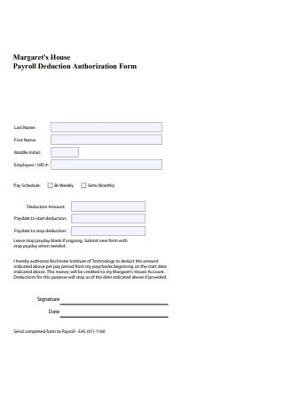 House Payroll Deduction Authorization Form