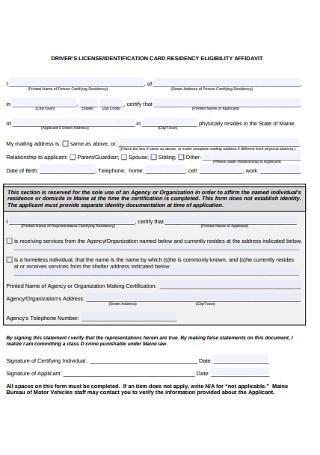 Identification Card Residency Eligibility Affidavit