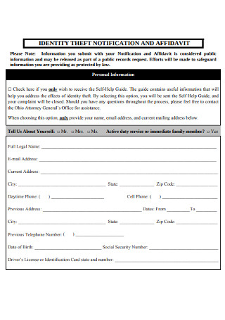 Identity Theft Notification and Affidavit
