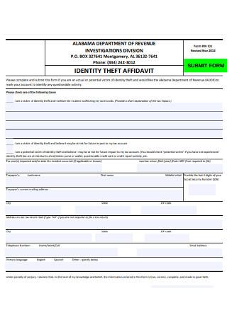 Identity of Affidavit Submit Form