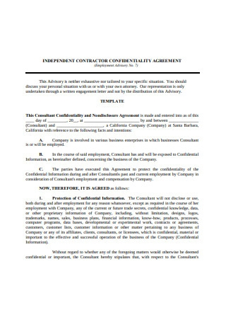 Independent Contractor Confidentiality Agreement1