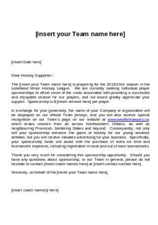 Individual Sponsorship Request Letter
