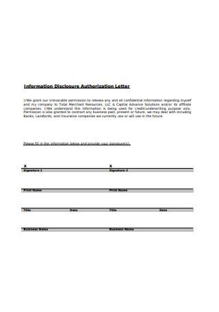 Information Disclosure Authorization Letter