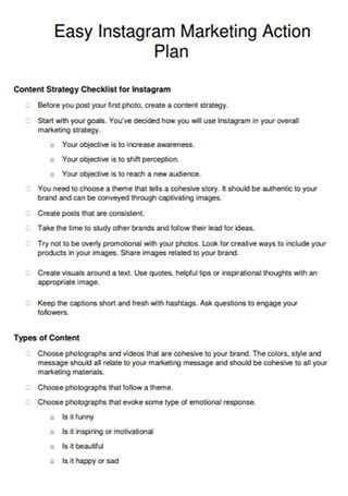 Instagram Marketing Action Plan