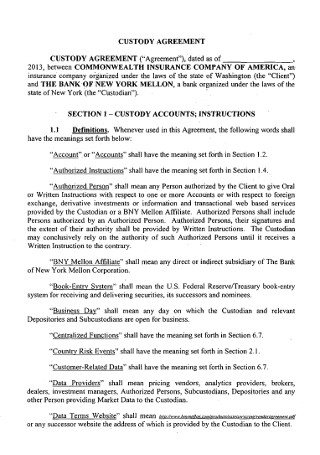 Insurance Company Custody Agreement