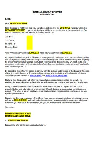 Internal Hourly Job Offer Letter