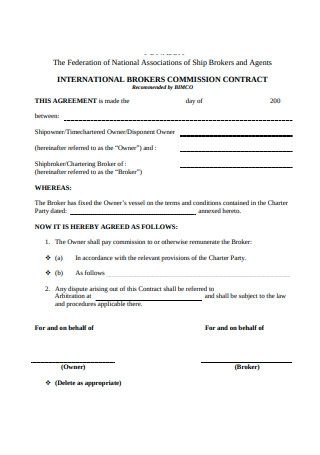 International Brokers Commission Contract