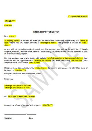 Internship Job Acceptance Letter