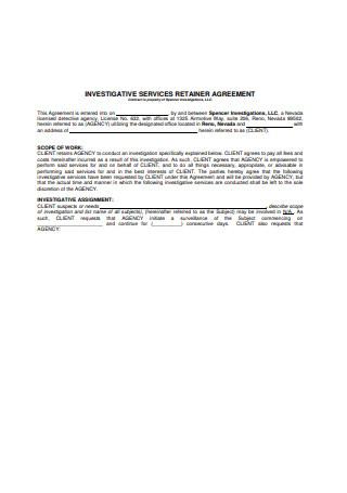 Investigative Services Retainer Agreement