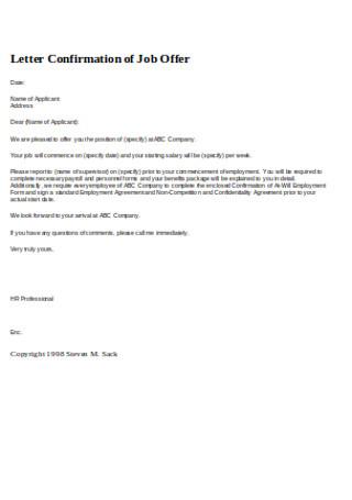 Job Conformation Reference Letter