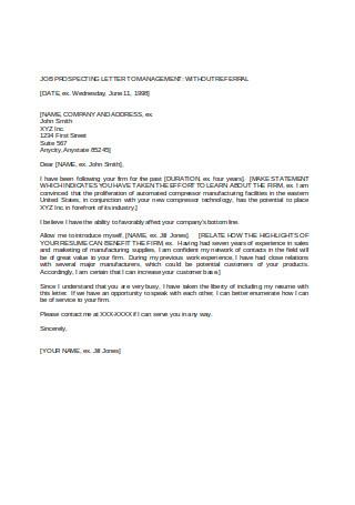 Job Prospecting Letter to Management