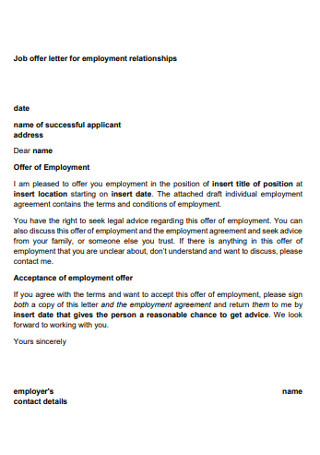 Job offer Letter for Employment Relationships