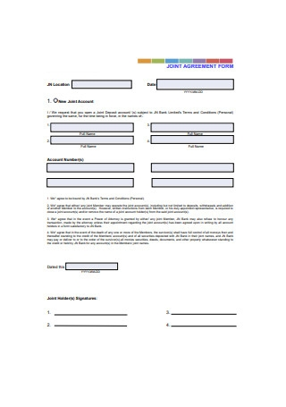 Joint Agreement Form