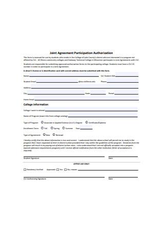 Joint Agreement Participation Authorization Form