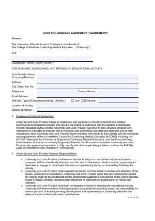 Joint Providership Agreement