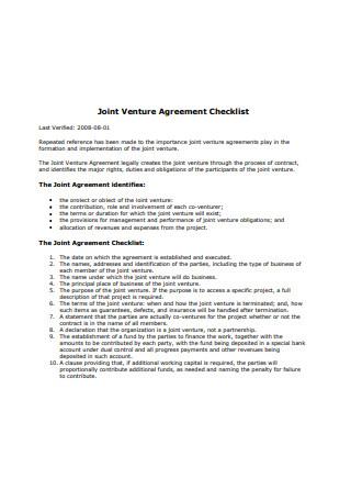Joint Venture Agreement Checklist