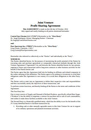 Joint Venture Profit Sharing Agreement