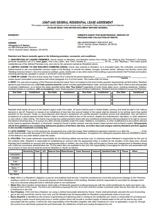 Joint and Several Residential Lease Agreement