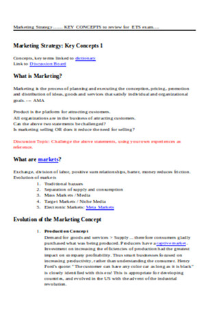 Key Concepts of Marketing Strategy Sample