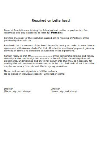 LLP Board Resolution Letter