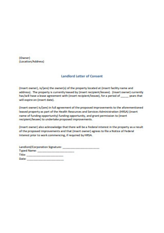 Landlord Letter of Consent