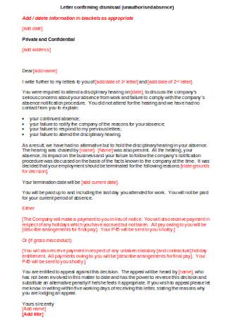 Letter Confirming Dismissal