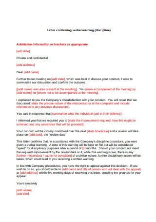 Letter Confirming Verbal Warning