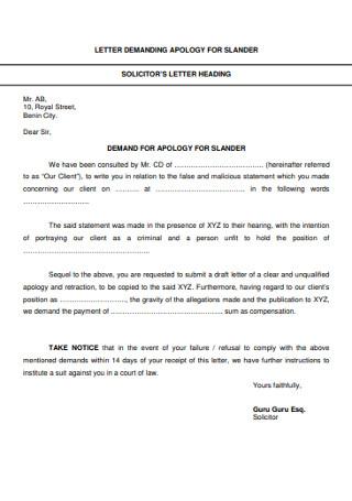 Letter Demanding Apology for Slander