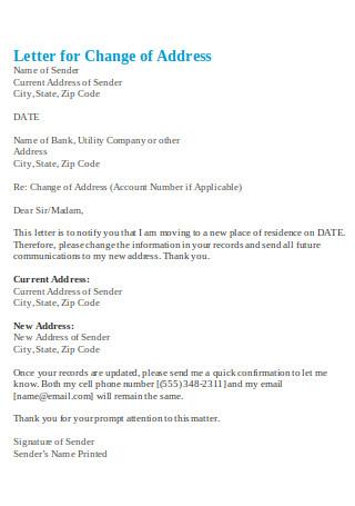Letter for Change of Address