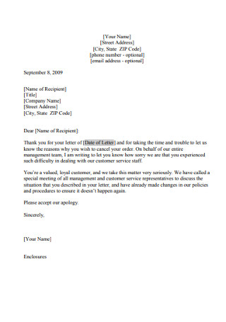 Letter of Apology after Customer's Cancellation of Order