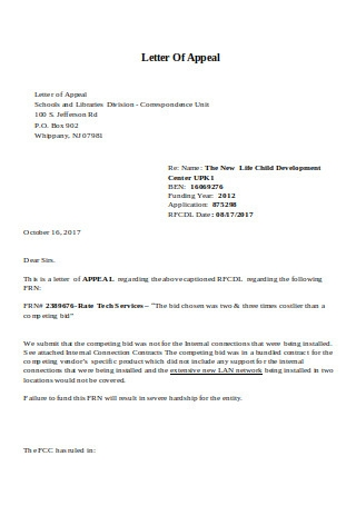Letter of Appeal Sample