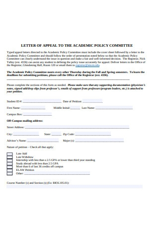 Letter of Appeal to the Academic Policy