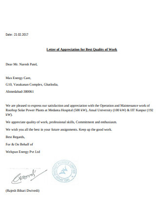 Letter of Appreciation for Best Quality of Work
