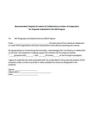 Letter of Collaboration Template