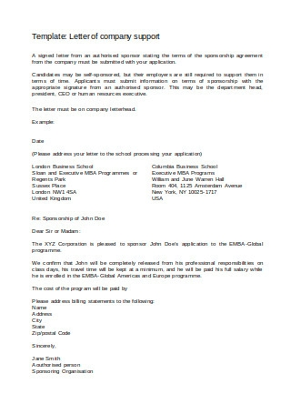 Letter of Company Support