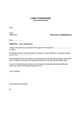 Letter of Dismissal for Gross Misconduct