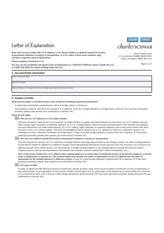 Letter of Explanation