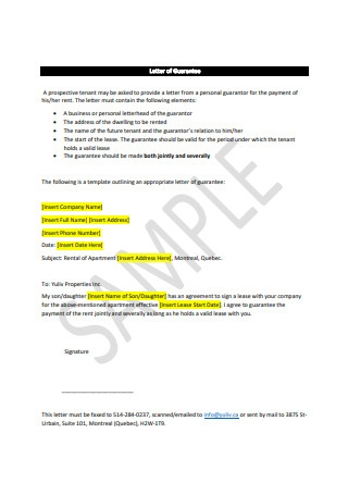 Letter of Guarantee Example