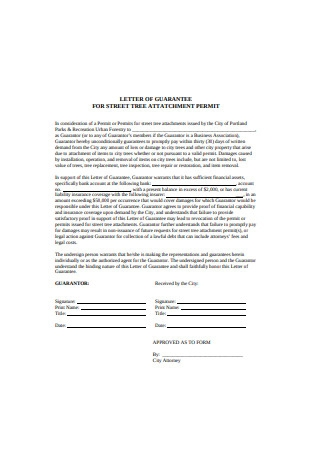 Letter of Guarantee Format