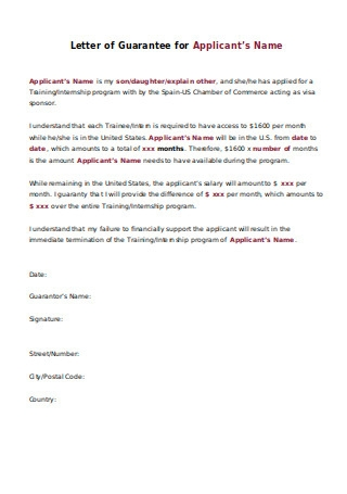 Letter of Guarantee for Applicant