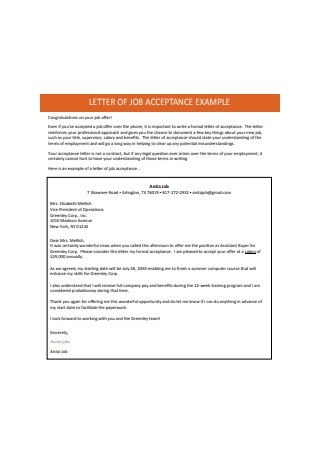 Letter of Job Acceptance Example