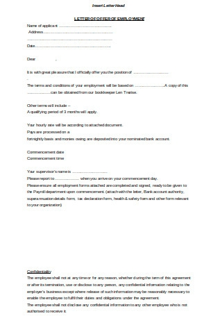 Letter of Offer of Employment
