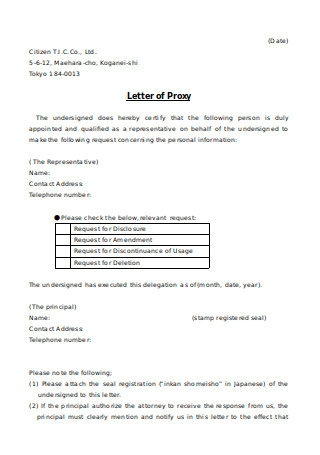 Letter of Proxy