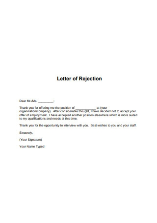 Letter of Rejection